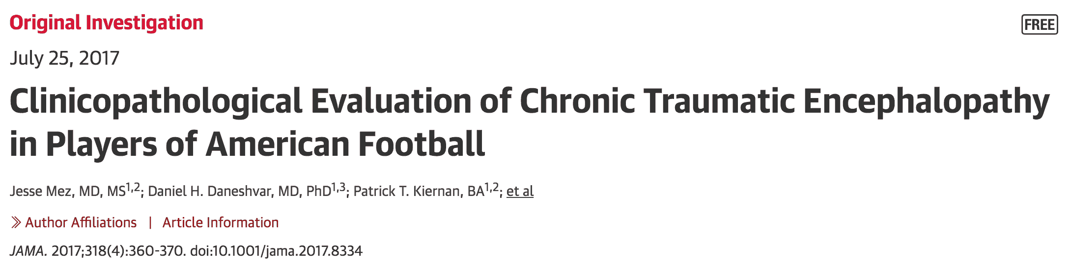 Chronic Traumatic Encephalopathy (CTE) - A Disease of Athletes